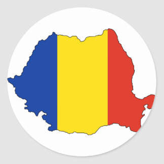 Romania flag map round sticker