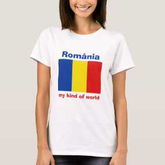 Romania Flag + Map + Text T-Shirt