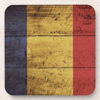 Romania Flag on Old Wood Grain Coaster