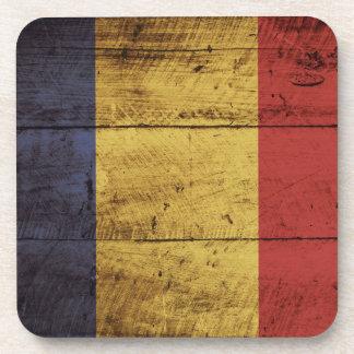Romania Flag on Old Wood Grain Coaster
