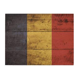 Romania Flag on Old Wood Grain Wood Canvas