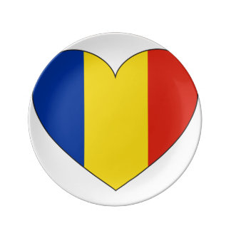 Romania Flag Simple Porcelain Plate