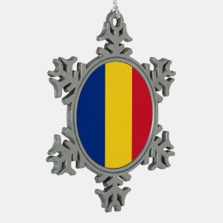 Romania Flag Snowflake Pewter Christmas Ornament