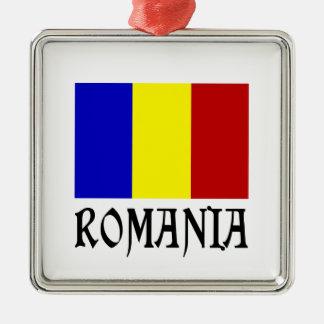Romania Flag & Word Metal Ornament