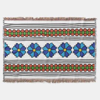 romania folk art motif chicory flower symbol throw