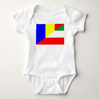 romania hungary flag country half symbol baby bodysuit