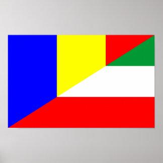 romania hungary flag country half symbol poster