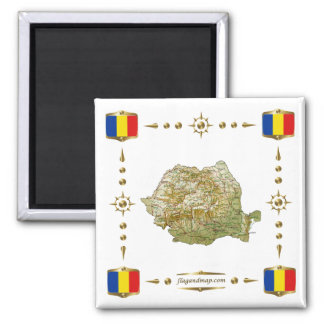 Romania Map + Flags Magnet