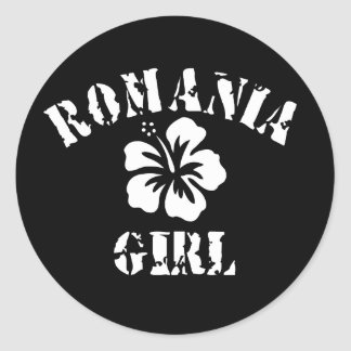 Romania Pink Girl Round Sticker