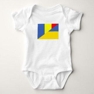 romania ukraine flag country half symbol baby bodysuit