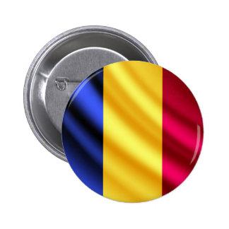 Romania waving flag pinback button
