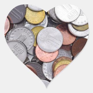 romanian coins heart sticker