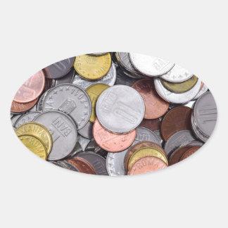 romanian coins oval sticker