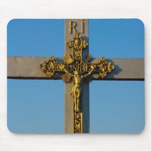 Romanian crucifix Jesus is Lord Mousepad