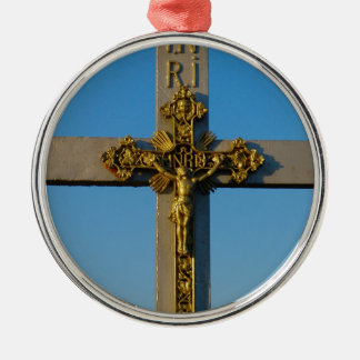 Romanian crucifix Jesus is Lord Silver-Colored Round Ornament