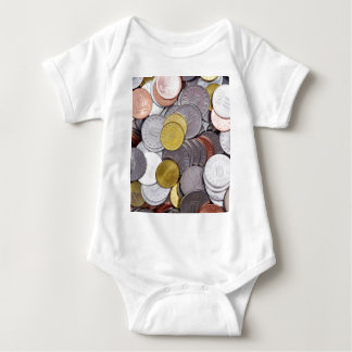 Romanian currency coins baby bodysuit