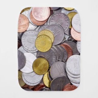 Romanian currency coins burp cloth