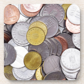 Romanian currency coins coaster