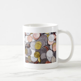 Romanian currency coins coffee mug