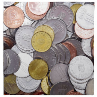 Romanian currency coins napkin