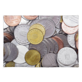 Romanian currency coins placemat