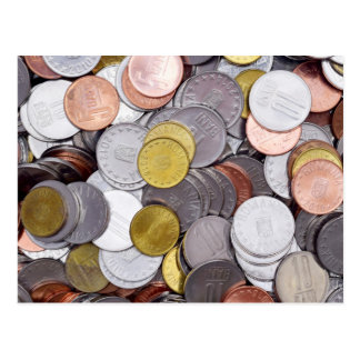 Romanian currency coins postcard