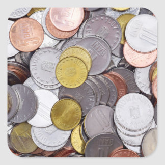 Romanian currency coins square sticker