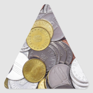 Romanian currency coins triangle sticker