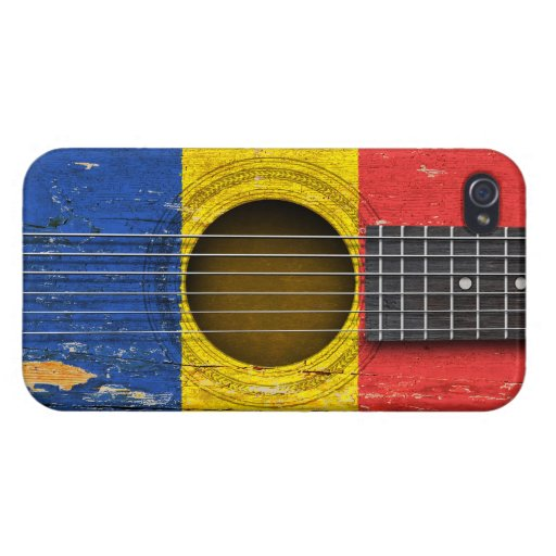Romanian Flag on Old Acoustic Guitar iPhone 4/4S Cases