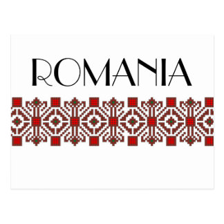 romanian folk costume stitch geometric floral art postcard