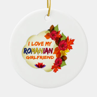 Romanian Girlfriend designs Ceramic Ornament