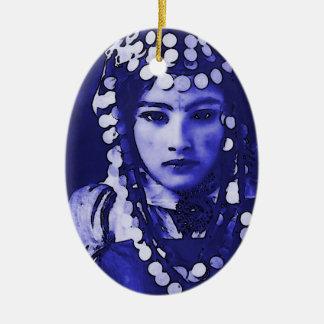 Romanian Gypsy in Blue Headdress Ceramic Oval Ornament