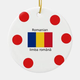 Romanian Language And Romania Flag Design Ceramic Ornament