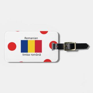 Romanian Language And Romania Flag Design Luggage Tag