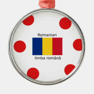 Romanian Language And Romania Flag Design Metal Ornament