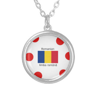 Romanian Language And Romania Flag Design Silver Plated Necklace