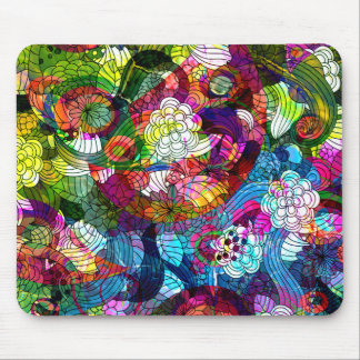 Romanic Colorful Retro Flower Design Mouse Pad