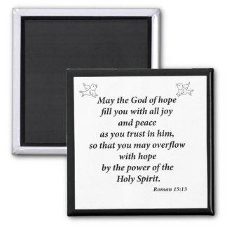 Romans 15:13 square magnet