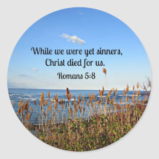 Romans 5:8 classic round sticker