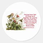 Romans 8:28 Bee Motif Round Stickers