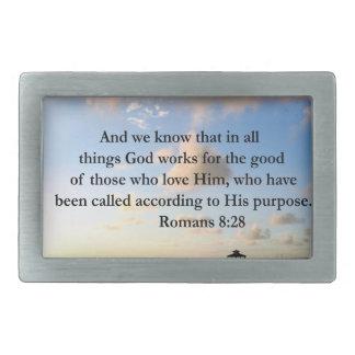 ROMANS 8:28 BIBLE RECTANGULAR BELT BUCKLE