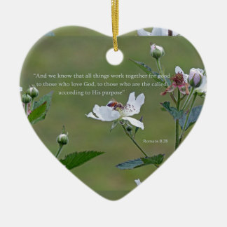 Romans 8:28 ceramic heart ornament