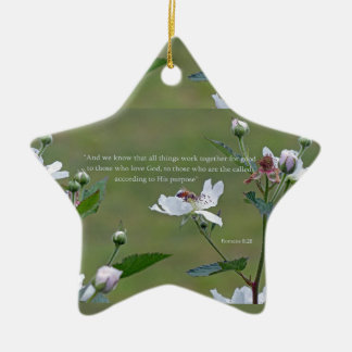 Romans 8:28 ceramic star ornament