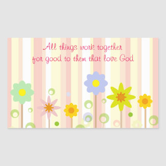 Romans 8:28 Pink Stripe and Flower Christian Quote Sticker