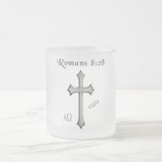 Romans 8:28 products frosted glass coffee mug