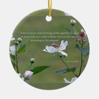 Romans 8:28 round ceramic ornament
