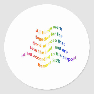 Romans 8 28 round sticker
