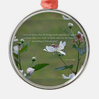 Romans 8:28 Silver-Colored round ornament