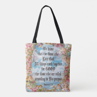 Romans 8:28 tote bag