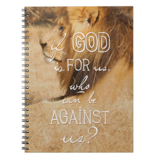 Romans 8:31 orange gold lion Bible quote notebook